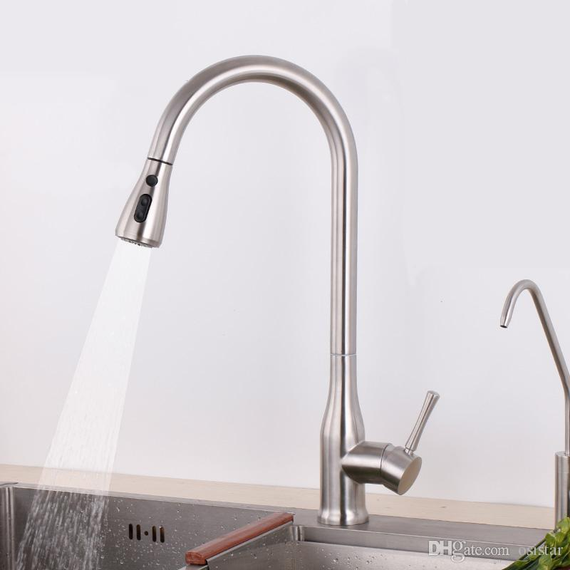 2 Way Water Come out Kitchen Faucet Sink Tap 304 Stainless Steel ...