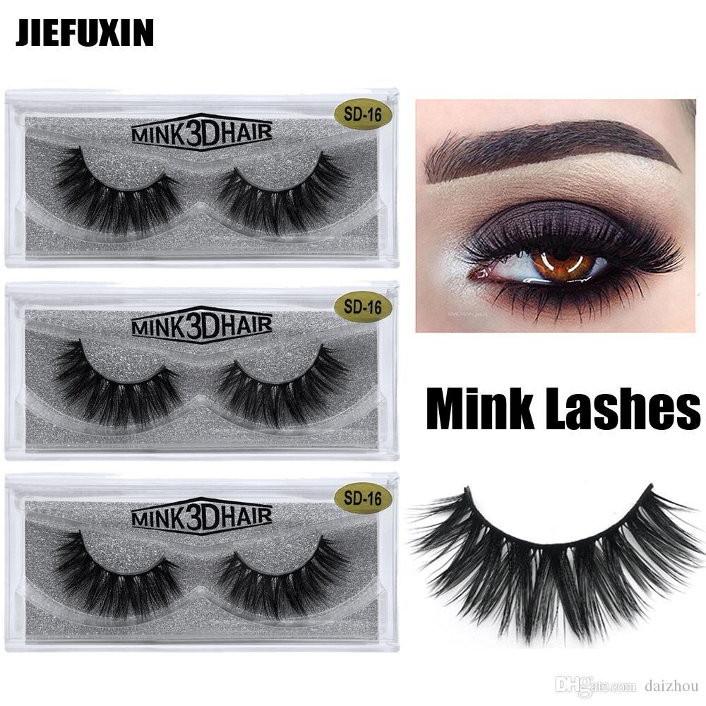 246e2309f94 100% Real Siberian 3D Mink Full Strip False Eyelash Long Individual ...