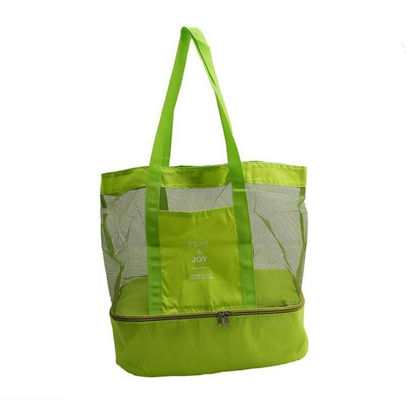 Portable Mesh Beach Bag with Double Layer Picnic Cooler Tote Bag(Green)