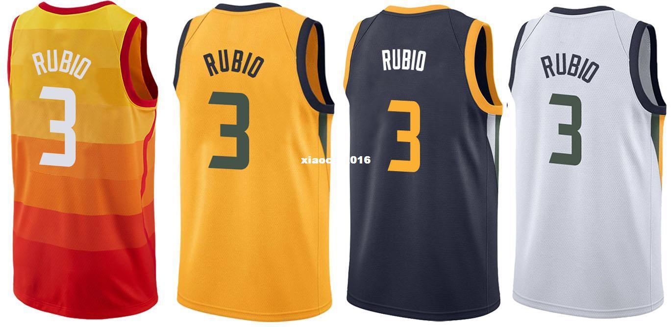 e2599656955a ... shop cheap new 2017 18 utah 3 ricky rubio jerseys wholesale mens  stitched city edition yellow ...