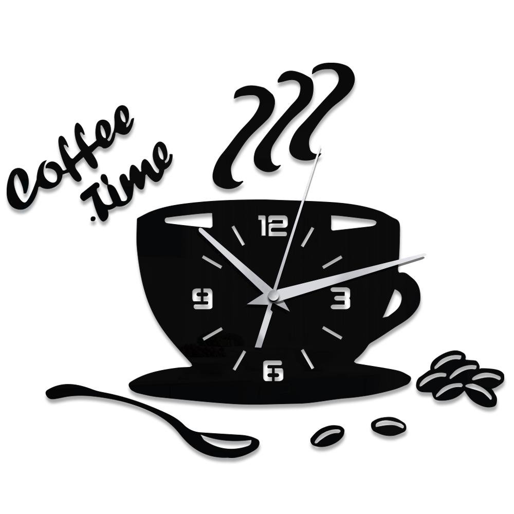 creative diy acrylic kitchen wall clock modern design coffee cup shape clock wall art home decor hollow numeral designer wall clocks for sale designer wall - Kitchen Wall Clocks