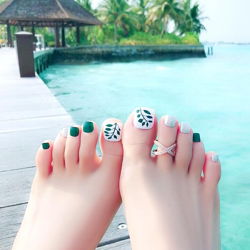 Compre 24 Unids Simple Verde Flores 3d Toe Fake Nails Verde Rojo