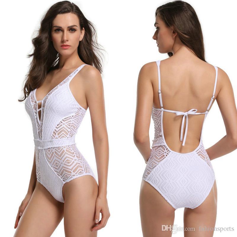 629554105c Women One Piece Swimsuit Sexy Swimwear Women Hollow Out Bandage Strap  U-back Solid Swimsuit Summer Bathing Suits Women Swimwear Swimsuit Women  Bathing Suit ...