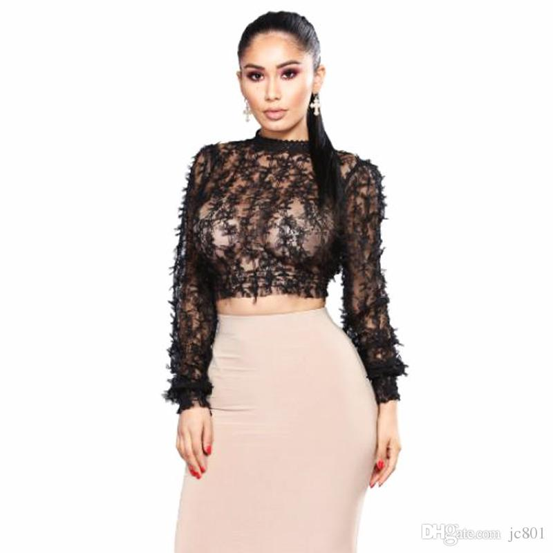 Mesh Bow See-Through O-cou Tops Femmes Sexy Manches Longues Bare Midriff Manches Longues Évider Papillon Bouton Dames Crop Shirt