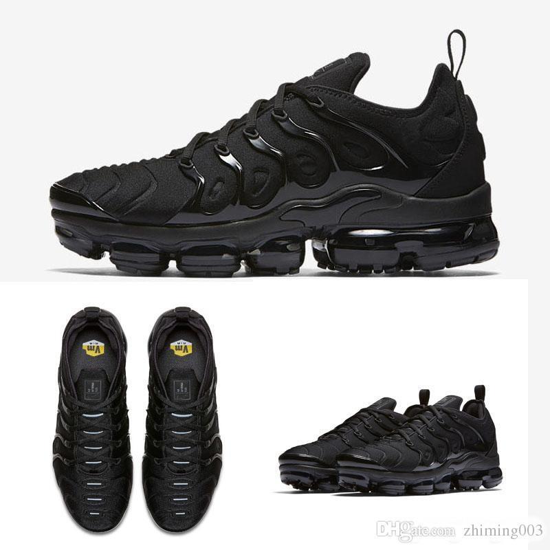 size 40 d03e5 f10a2 Acheter 2018 Gros De Haute Qualité Arc En Ciel Noir Complet Noir Blanchi TN  Hommes Run Run Sport Chaussures Sneakers Chaussures De Course Taille 36 Air  45 ...