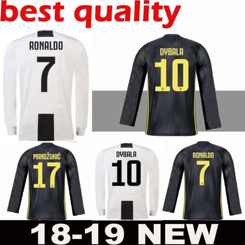 5d31abef7 2019 Long Sleeve Juventus Home Soccer Jersey 18 19  7 RONALDO  10 DYBALA  Soccer Shirt 2019 MARCHISIO MANDZUKIC PJANIC HIGUAIN Football Uniform From  ...