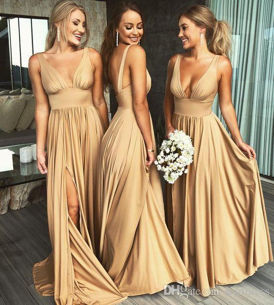 Robe D'Invité De Mariage Sexy Gold Long Country