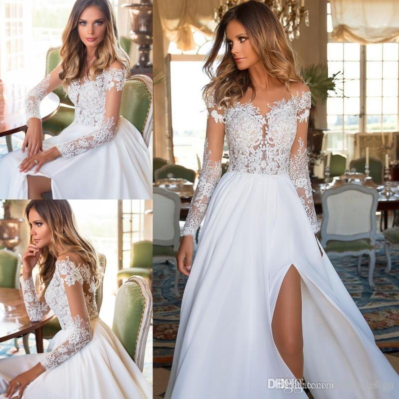 43cb86a1ffa9 Discount Modest Long Sleeves Lace Chiffon Wedding Dresses 2018 Sheer  Appliques Split Bridal Gowns Summer Boho Weddings Cheap Sexy Wedding Gowns  Top Wedding ...