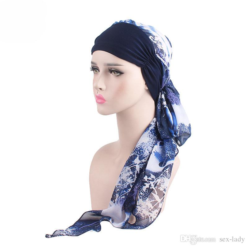 New Women Chemo Cap Turban Long Hair Band Scarf Head Wraps Hat Boho Pre-Tied Bandana Hair Accessories for Women Muslim Hats 6 Colors
