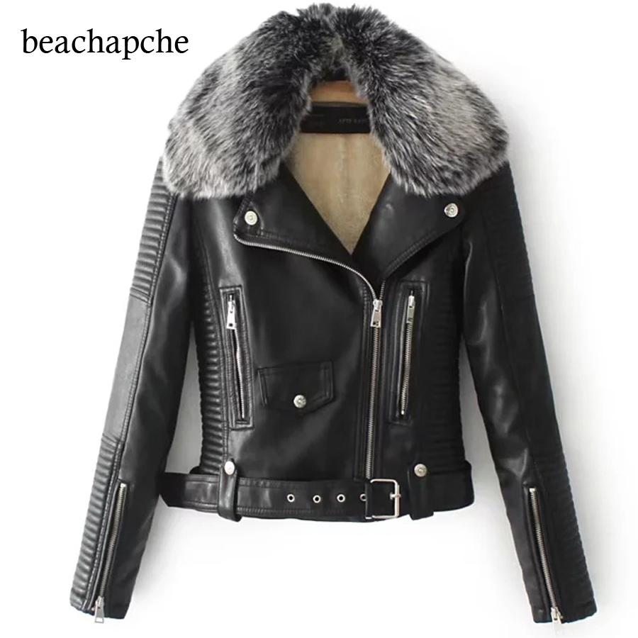 9975401ba81 2019 Winter Artificial Leather Jacket Women Fur Neck Warm Short Jacket  Especially Female Black Coat Women Motorcycle From Salom, $64.7 | DHgate.Com
