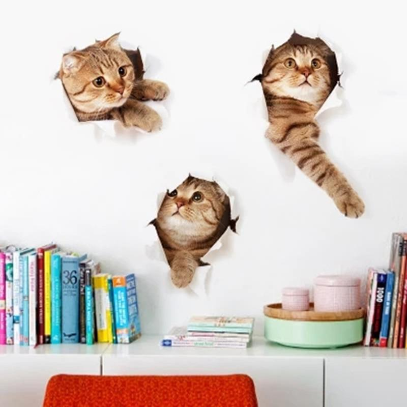 cat pvc 3d wall sticker waterproof dog wall sticker for kids rooms