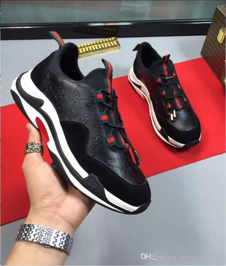 ccf7191cee50 2018 New Fashion Designer Brand Red Bottom Black White Snake Pattern Casual  Men Women Lace Up Red Sole Flat Male Unisex Low Top SportShoes Sports Shoes  ...