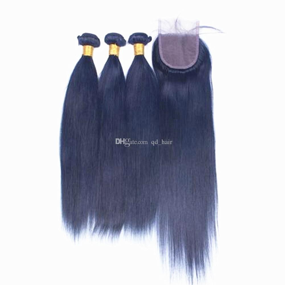 أزرق داكن مستقيم الشعر البشري 3 حزم مع إغلاق الرباط لون نقي الشعر الأزرق ينسج لحمة مع إغلاق الرباط 4x4