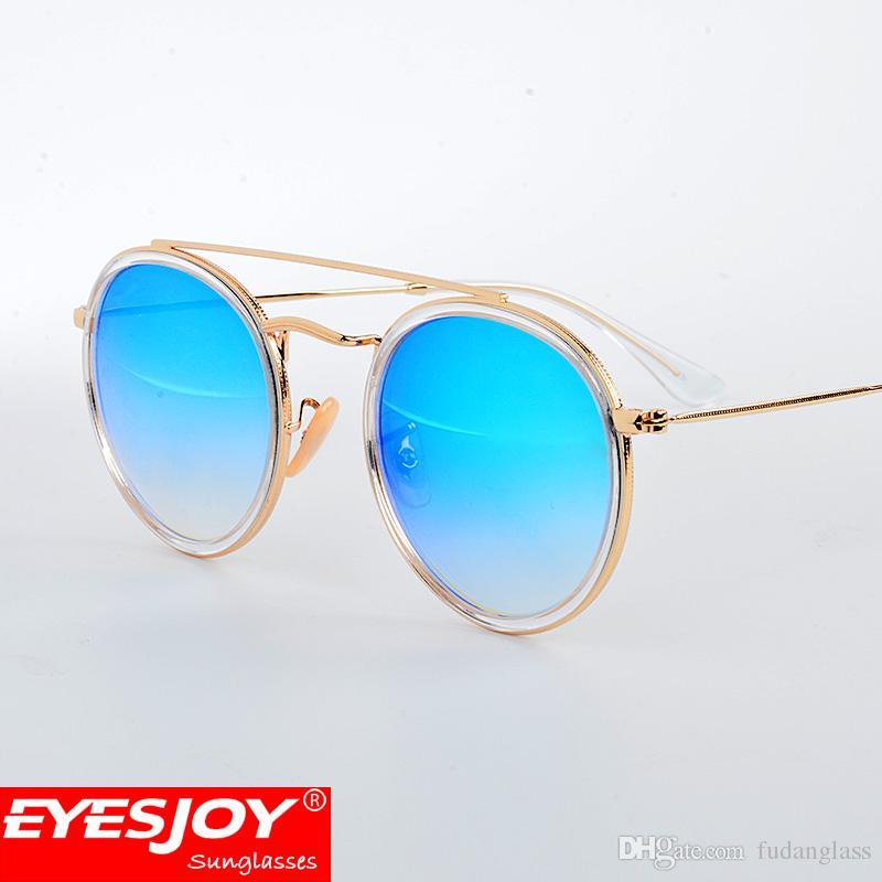 Womens Fashion Brand Designer Sunglasses New Round Double Bridge ...