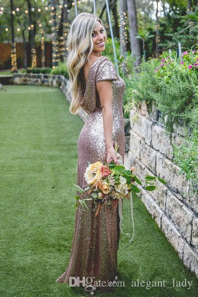 Bling Sparkly Bridesmaid Dresses 2018 Rose Gold blush Sequins Cheap Mermaid Two Pieces Backless Country Beach Party Wedding Guest Dress