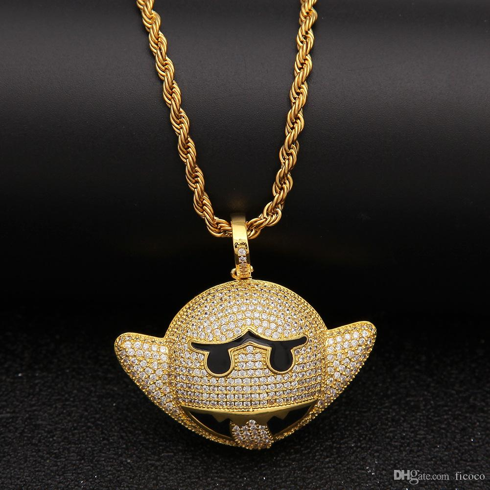 Wholesale Wholesale Silver Gold Cartoon Bat Emoji Iced Out Pendant Choker Chains  Hip Hop Jewelry Designer Jewelry Mens Necklace Gold Chains For Men Handmade  ... 4738499bd