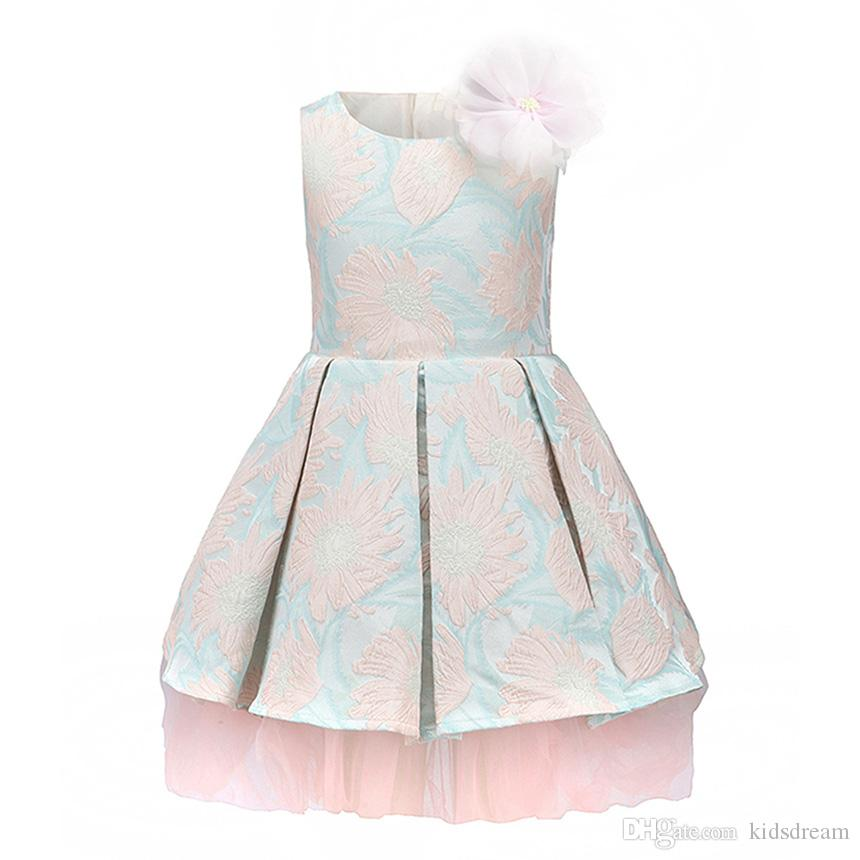 28538534a9511 2019 Tween Girls Floral Dobby Pink Formal Dresses For Kids Light Blue Jacquard  Flower Decoration Pretty Wedding Girl High Quality Clothes From Kidsdream