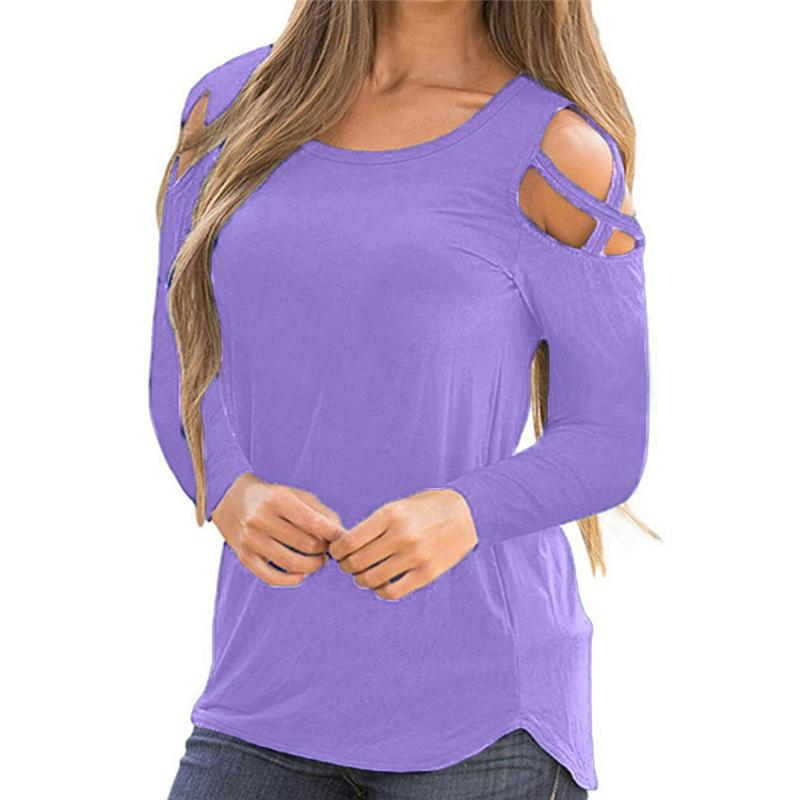 f47d8a6e807c3 2019 Women Long Sleeve Blouses Strappy Cold Shoulder Solid Shirts Tops  Blouses Plus Size Women Clothing Autumn Ropa Mujer Verano 2018 From  Yuedanya
