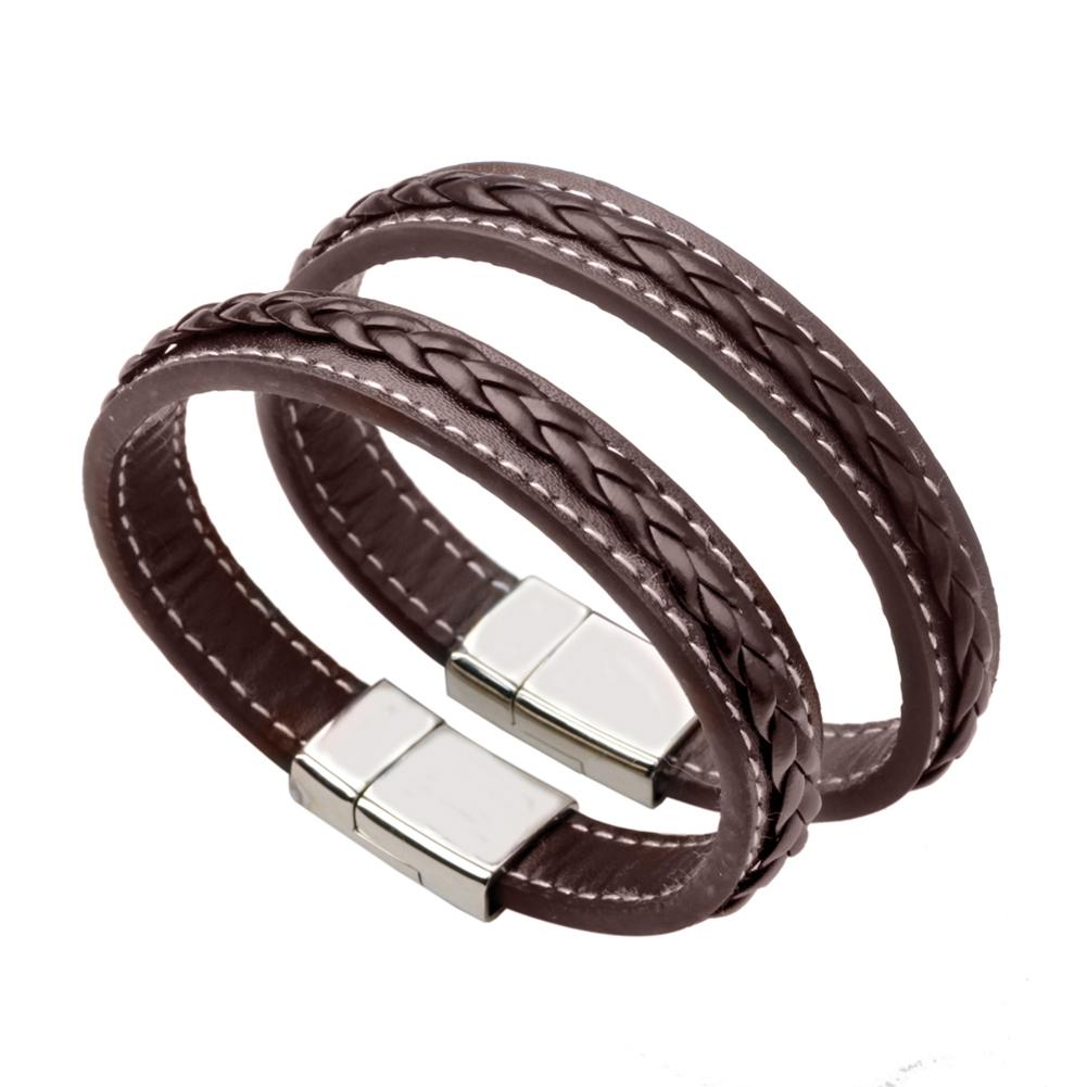 9241d8ff39f2d Fashion Charm Bracelet Bangle Stainless Steel Leather Chain Genuine Leather  Bracelet Men Vintage Male Braid Accessories Jewelry