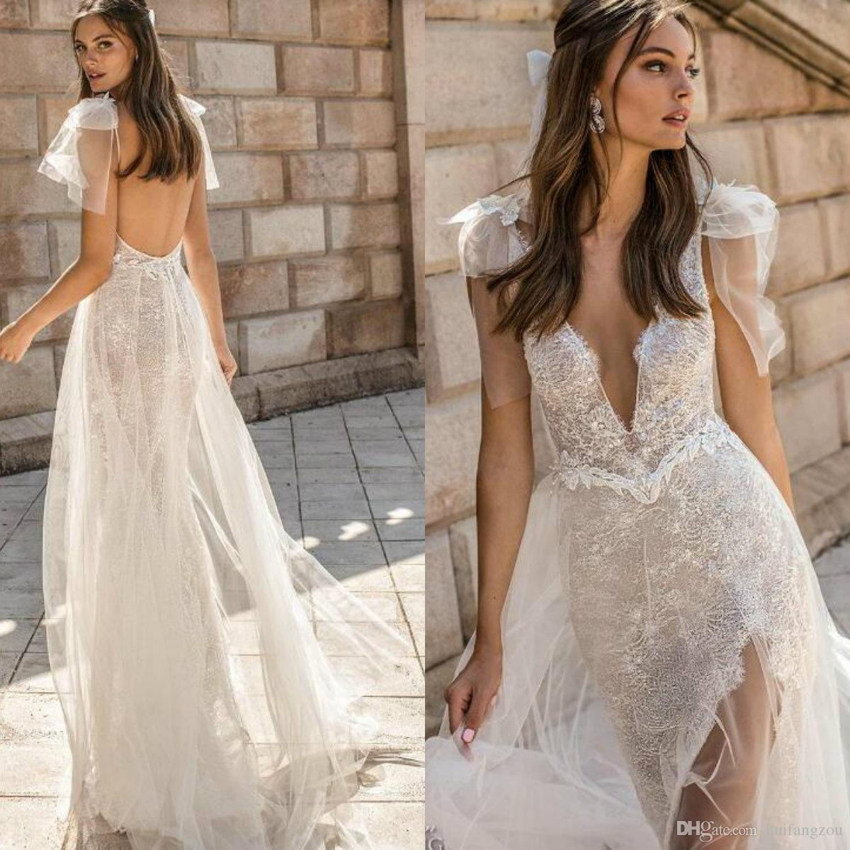 b86fa150ac62 Muse By Berta 2019 Wedding Dresses Deep V Neck Lace Appliques Beaded Thigh High  Slits Wedding Dress Backless Bridal Gowns Chiffon Wedding Dresses Designer  ...