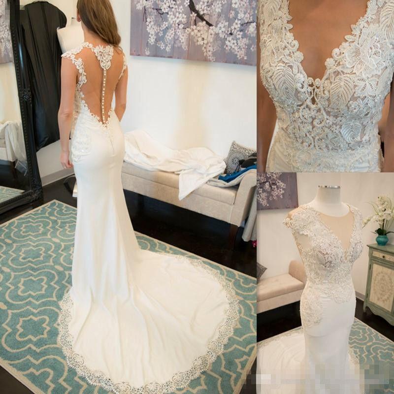 Elegant Mermaid Wedding Dress 2017 Illusion Tulle Back Deep V Neck Lace Appliques Bridal Dresses Trumpet Chiffon Gothic Brides Gown