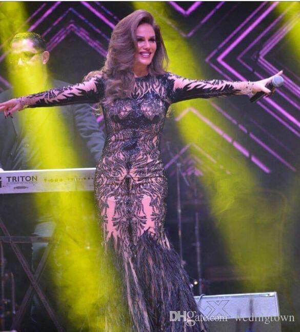 Evening dress Yousef aljasmi Cap sleeve Jewe Beaded Feather orstrich Long dress kim kardashian Myriam Fares