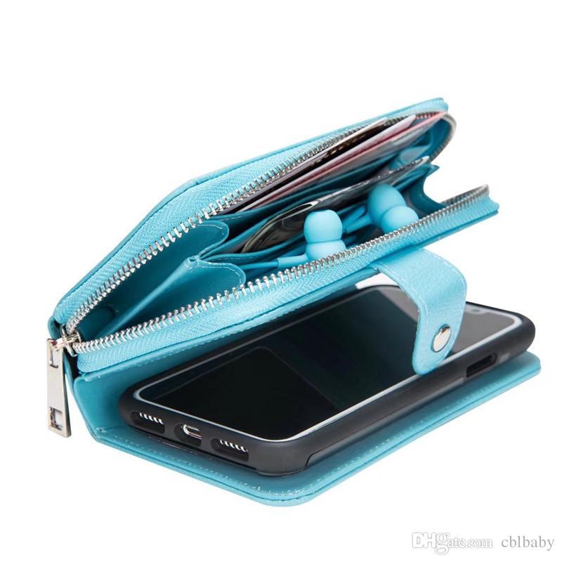 Pour iPhone 7 6 Plus X Détachable En Cuir Portefeuille Cas Amovible Sac À Main Poche Flip Carte Couverture Arrière Zipper Téléphone portable Doux Gel Cas