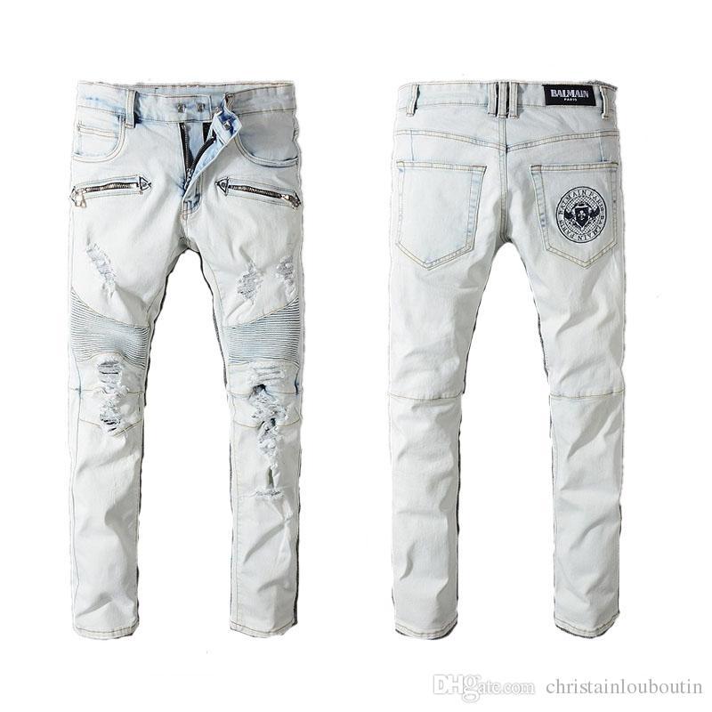 54cee2a88b Compre Balmain Calças Roupas Designer Slp Azul Preto Destruído Mens Denim  Fino Hetero Motociclista Skinny Jeans Homens Jeans Rasgado De  Christainlouboutin