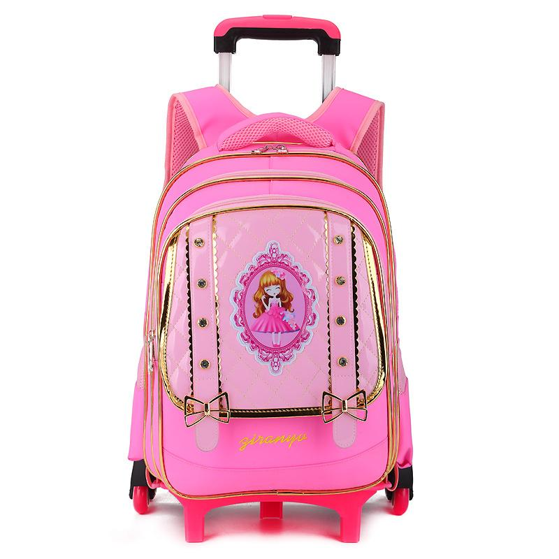 2018 Waterproof Trolley Backpack Girls Children School Bag Wheels Travel  Bag Luggage Backpack Kids Rolling Detachable Schoolbags Wheeled Backpack  Small ... fa43d6fcc5a46