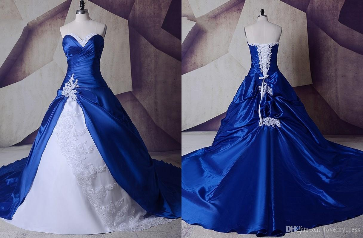2019 Royal Blue White Wedding Dresses Real Photos Cheap Applique