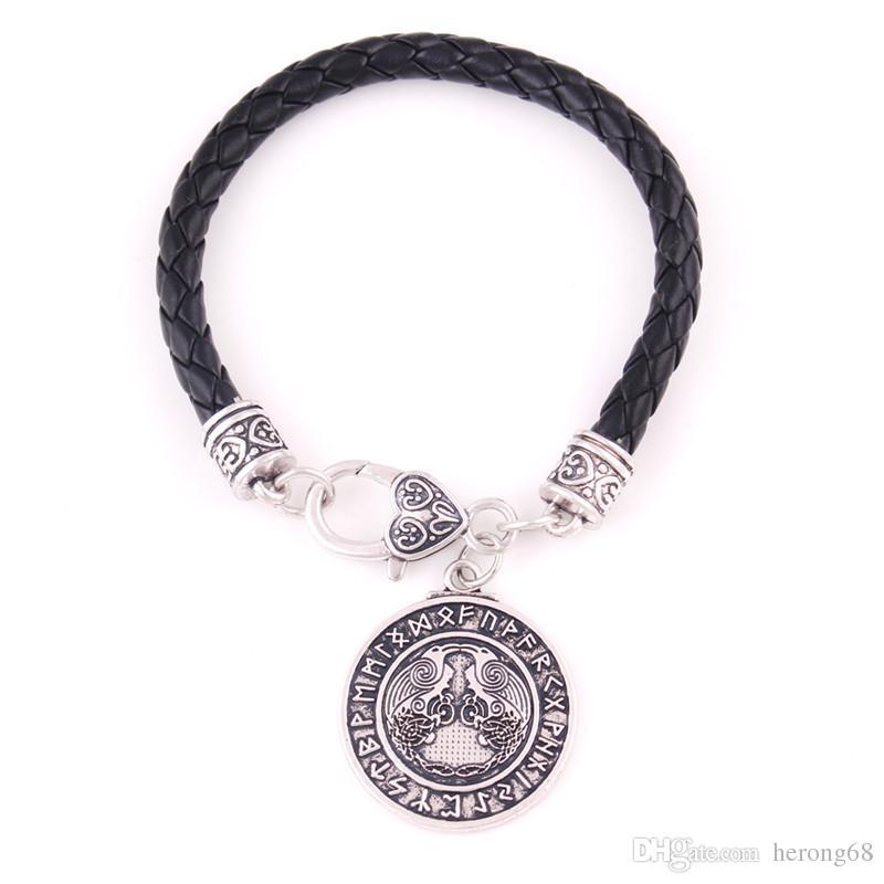2019 original riche et magnifique bas prix Bijoux religieux bracelet pour les femmes hommes dieu oiseau corbeau  corbeau avec étrange rune style salomon amulette viking fournir Dropshipping