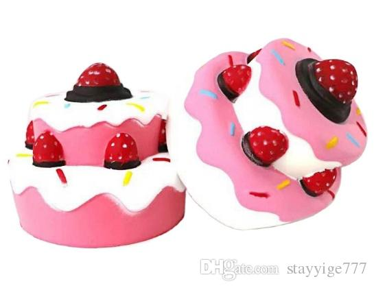 2018 Strawberry Cake PU Cute Lovely Cartoon Pendant Kawaii Squishy Simulation Bread Food Squishy Super Kid Toy Decompression Toys