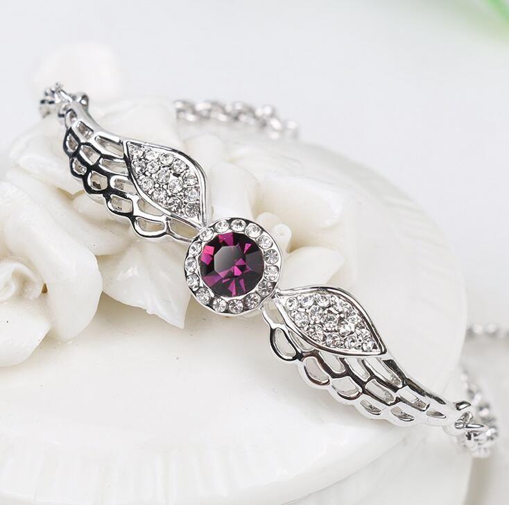 Elegant girl crystal bracelet shiny plating angel wing bracelets for women nice gift Valentine's Day multi style free ship