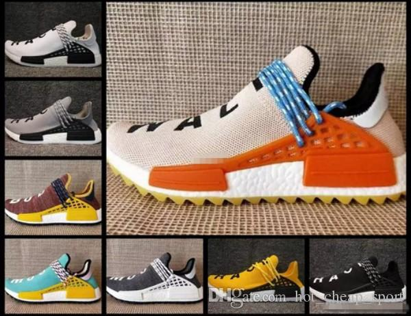 the best attitude 9cb13 78230 2018 Pharrell Williams Mens Trainers Human Race In Yellow Red Black Blue  Grey Green White Men Women Races Sports Sneakers Running Shoes