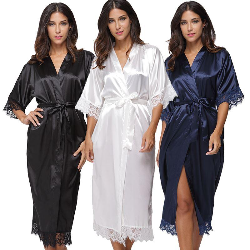 93d3bfdeb1 Summer Lace Patchwork Satin Kimono Robe Sexy Sleepwear Lingerie Chemises  Women Silk Long Nightgown Wedding Bridesmaid Robes High Quality Wedding  Favo China ...