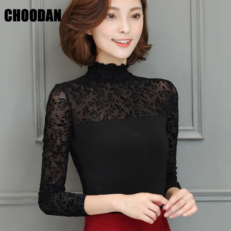 775956b87ab16 Compre elegante camisa blusa negra mujer floral rosa manga larga jpg  800x800 Cuello tortuga ropa halter