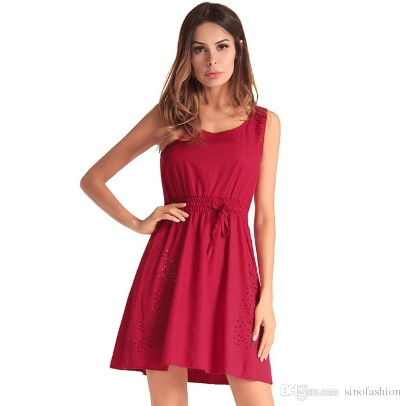 a42e60e8a79 Sundress Casual Beach Dresses Women Mini Dresses Sleeveless Slim Fit Red  Sexy Hollow Out Pleated Dress Design Summer Party Dresses Online Day  Dresses From ...