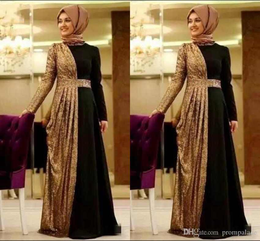 Hot Online Gold Sequin Muslim Evening Dresses Long Sleeves Turkish