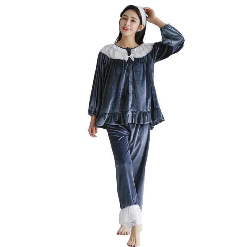 c33c53ce3c New Winter Sleepwear Ladies Flannel Pajamas Pijama Set Lace Trim ...