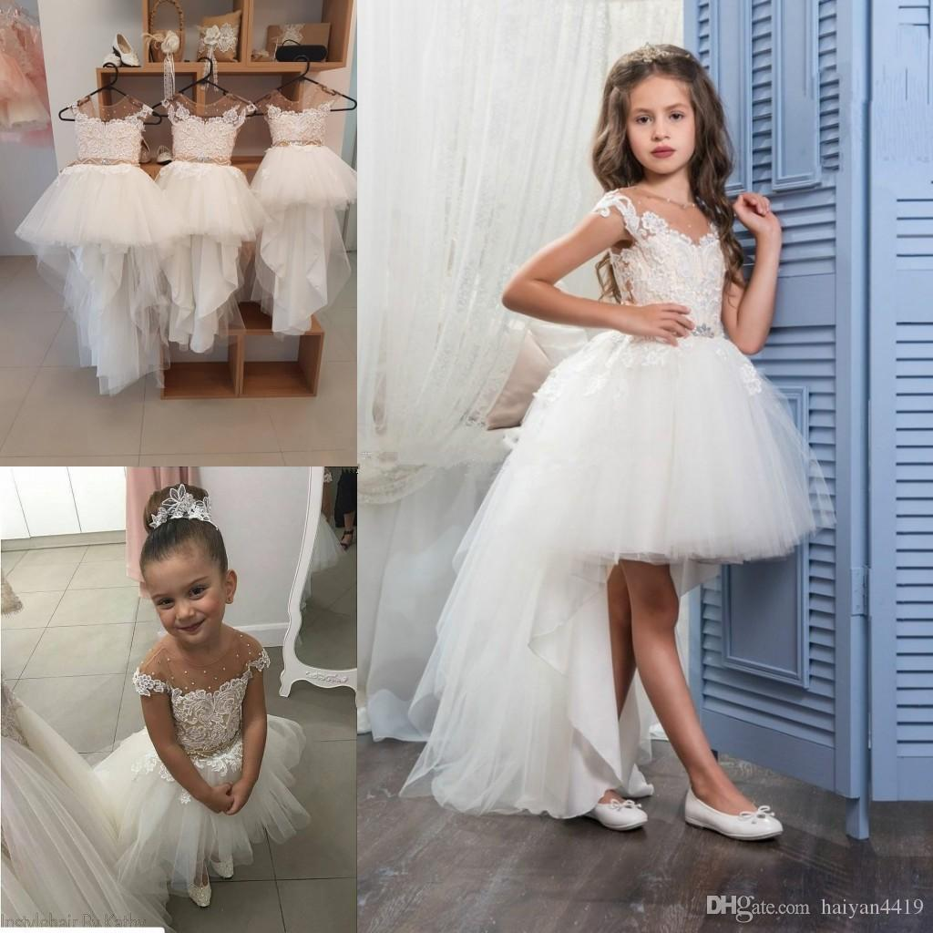 df788e6e11eb 2018 Cute High Low Flower Girls Dresses For Weddings Sheer Neck ...