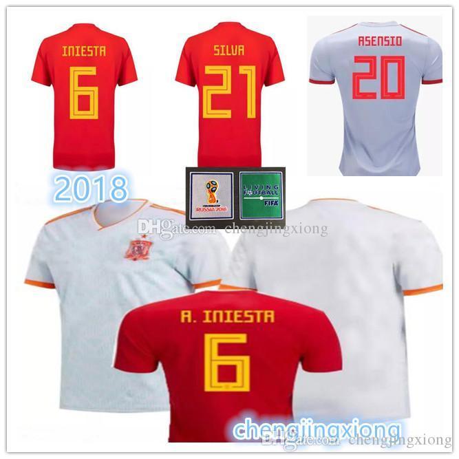 925ad537e3364 Camiseta España De Fútbol Rojo Local Jersey 2018 Copa Del Mundo Camiseta De  Fútbol Local De España 2018   22 ISCO   20 ASENSIO   15 RAMOS Uniformes De  ...