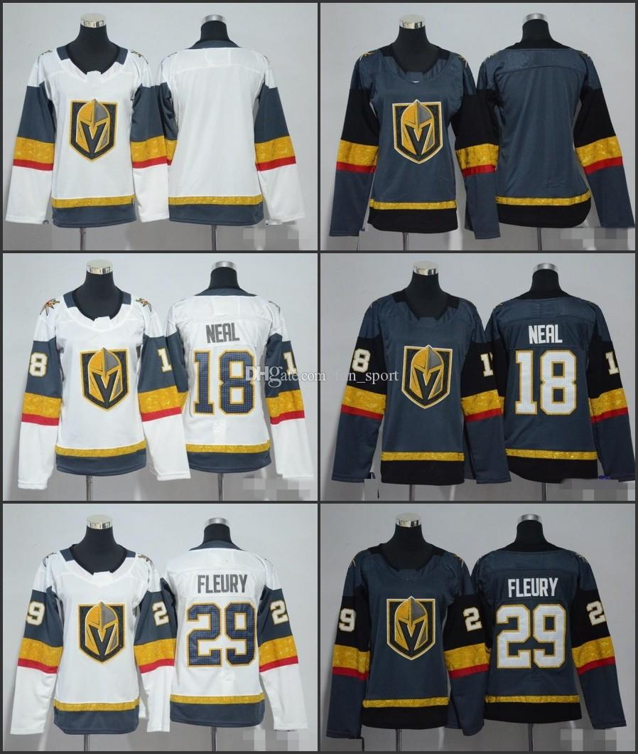 size 40 3267e 65c52 2018 NEW Womens Vegas Golden Knights Hockey Jerseys 29 Marc-Andre Fleury 18  James Neal Ladies Grey White Stitched Girls Hockey Jersey