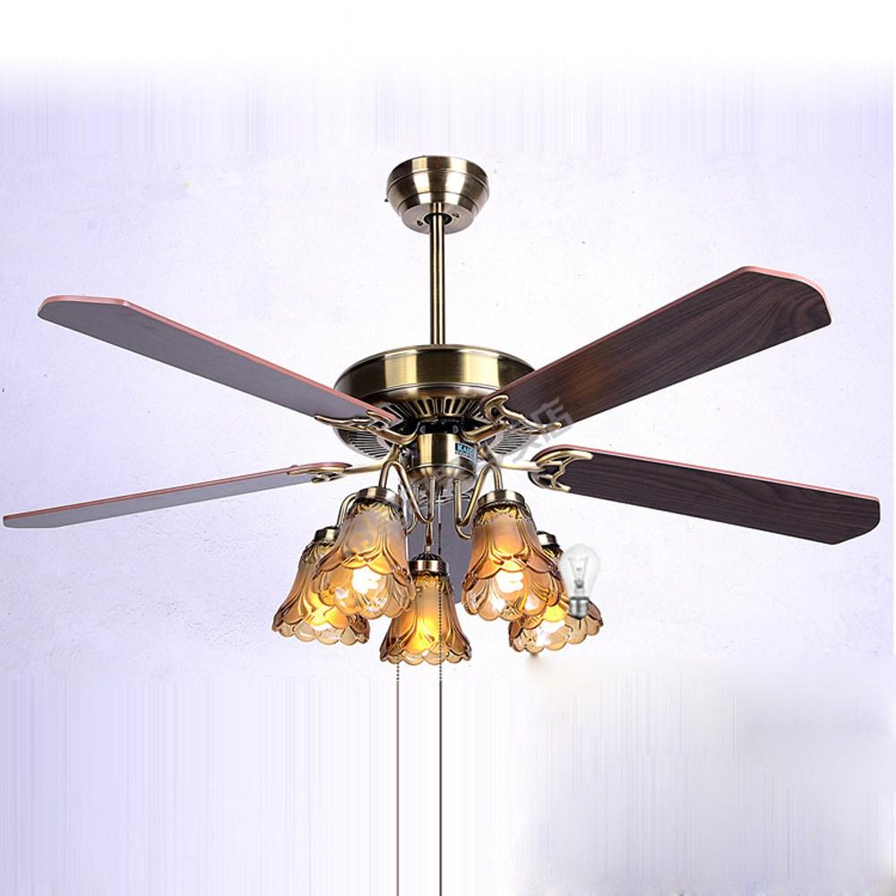Luxury European Vintage 52 Ceiling Fan Lamp With 5 Paddles And Glass Lamps 3 Sds Dining Room Light Fans