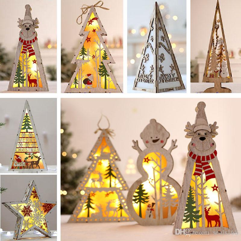 Led Lighted Christmas Tree Wooden Tree Decoration For Christmas