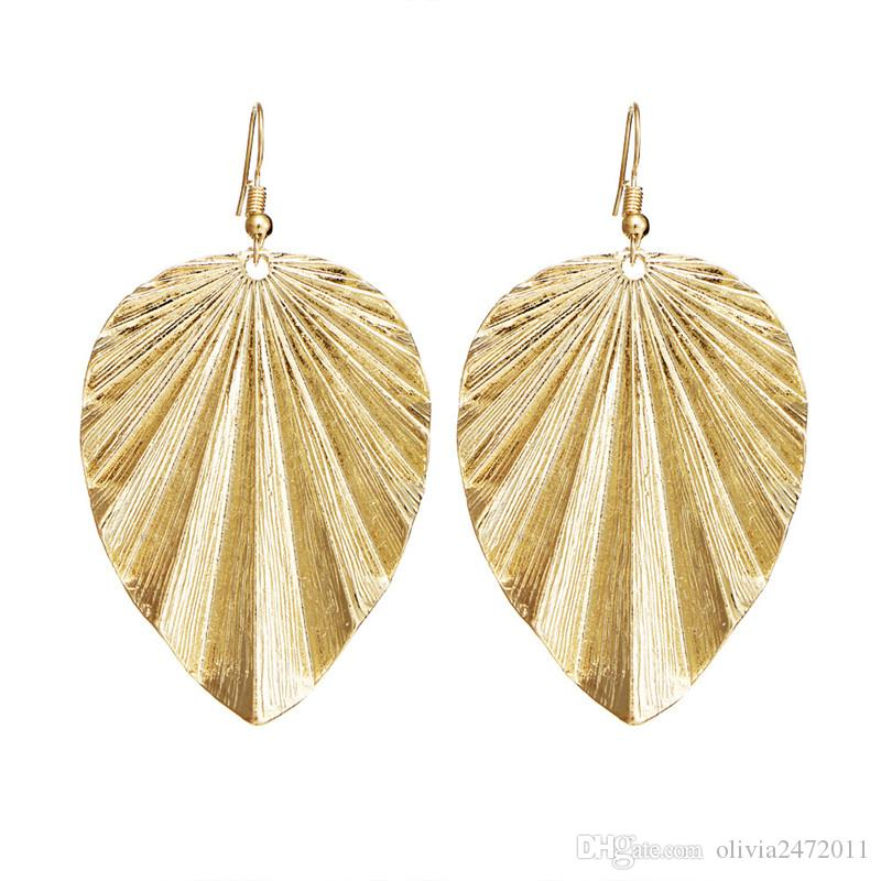 Fashion Design Vintage Silver Gold Black Metal Color Leaf Drop Dangle Statement Earrings Jewelry For Women HZ