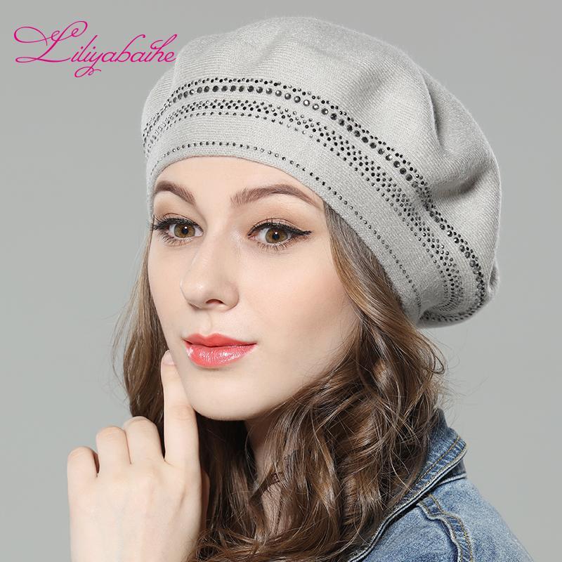 74726cbddf20 Liliyabaihe Новые женские зимние шапки шерстяные вязаные береты, шапки с  окружающим ...