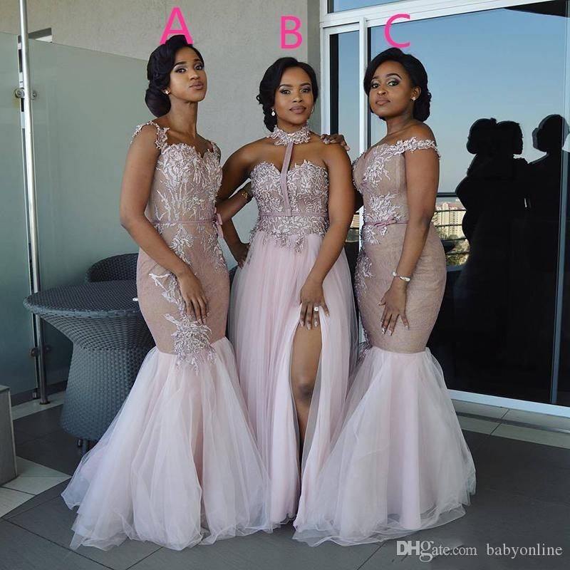Mixed Style Long Bridesmaid Dresses 2018 Floor Length Appliques Prom Dress  African Nigerian Wedding Guest Evening Dresses BA9272 Champagne Bridesmaid  ... ce930cbdc4a7