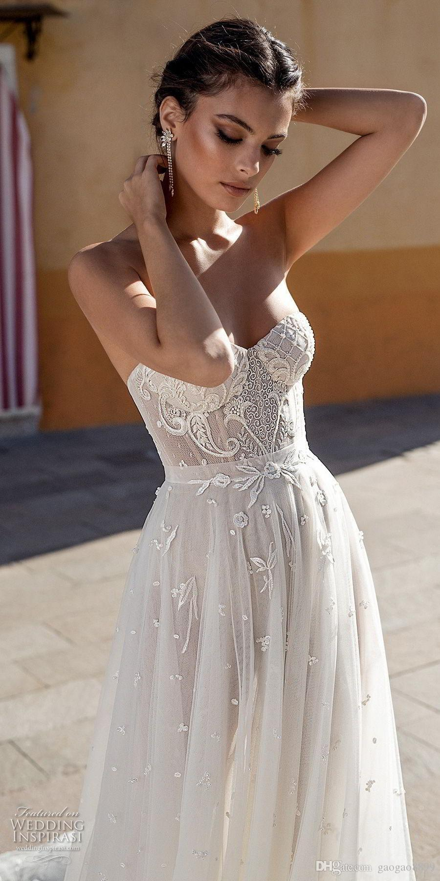 Gali Karten 2019 New Summer Lace Wedding Dresses Bridal Gowns A Line Sweetheart Backless Appliques Pearls Fitted Long