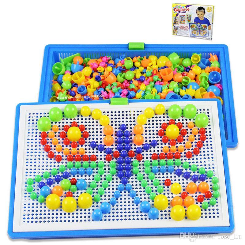 296 grani giocattoli bambini creativo colorato mosaico di funghi chiodo ding bambini apprendimento giocattolo perline inserto puzzle giocattoli educativi i bambini b