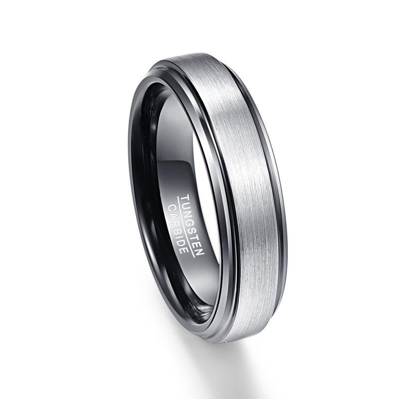 128ad8d3d219c 6mm Men s Black Polished Matte Brushed Finish Center Tungsten Wedding Band  Rings Beveled Edges
